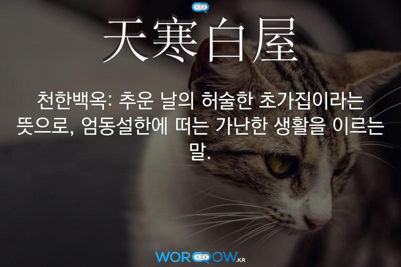 天寒白屋(천한백옥): 추운 날의 허술한 초가집이라는 뜻으로, 엄동설한에 떠는 가난한 생활을 이르는 말.