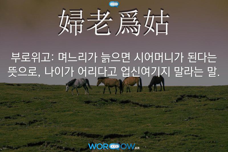 婦老爲姑(부로위고): 며느리가 늙으면 시어머니가 된다는 뜻으로, 나이가 어리다고 업신여기지 말라는 말.