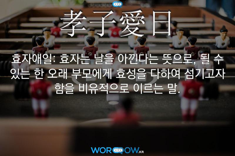 孝子愛日(효자애일): 효자는 날을 아낀다는 뜻으로, 될 수 있는 한 오래 부모에게 효성을 다하여 섬기고자 함을 비유적으로 이르는 말.