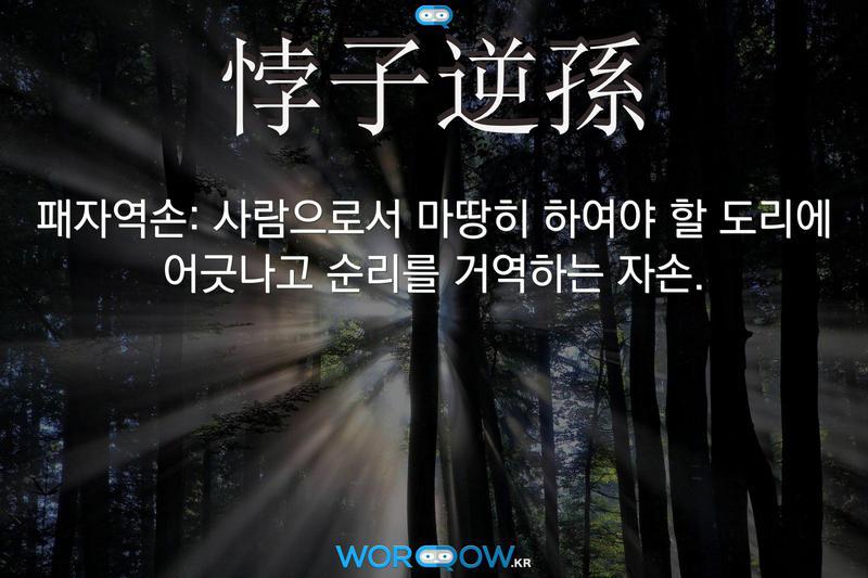 悖子逆孫(패자역손): 사람으로서 마땅히 하여야 할 도리에 어긋나고 순리를 거역하는 자손.