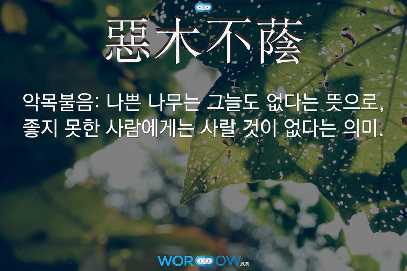 惡木不蔭(악목불음): 나쁜 나무는 그늘도 없다는 뜻으로, 좋지 못한 사람에게는 사랄 것이 없다는 의미.