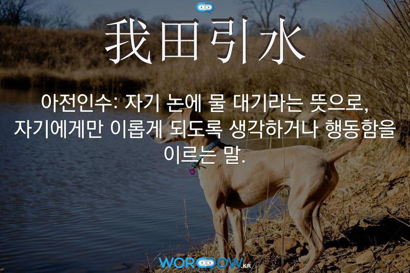 我田引水(아전인수): 자기 논에 물 대기라는 뜻으로, 자기에게만 이롭게 되도록 생각하거나 행동함을 이르는 말.