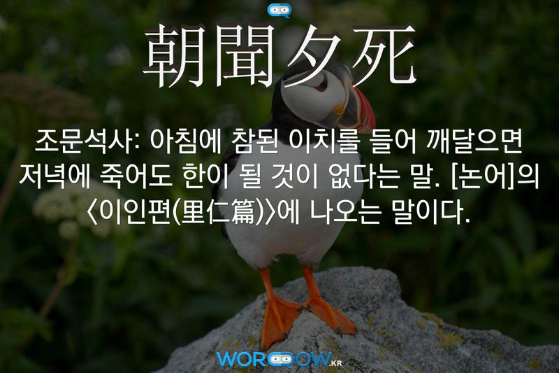 朝聞夕死(조문석사): 아침에 참된 이치를 들어 깨달으면 저녁에 죽어도 한이 될 것이 없다는 말. ≪논어≫의 <이인편(里仁篇)>에 나오는 말이다.