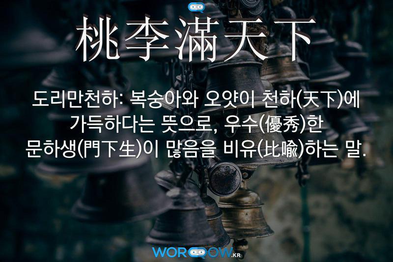 桃李滿天下(도리만천하): 복숭아와 오얏이 천하(天下)에 가득하다는 뜻으로, 우수(優秀)한 문하생(門下生)이 많음을 비유(比喩)하는 말.
