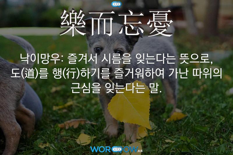 樂而忘憂(낙이망우): 즐겨서 시름을 잊는다는 뜻으로, 도(道)를 행(行)하기를 즐거워하여 가난 따위의 근심을 잊는다는 말.