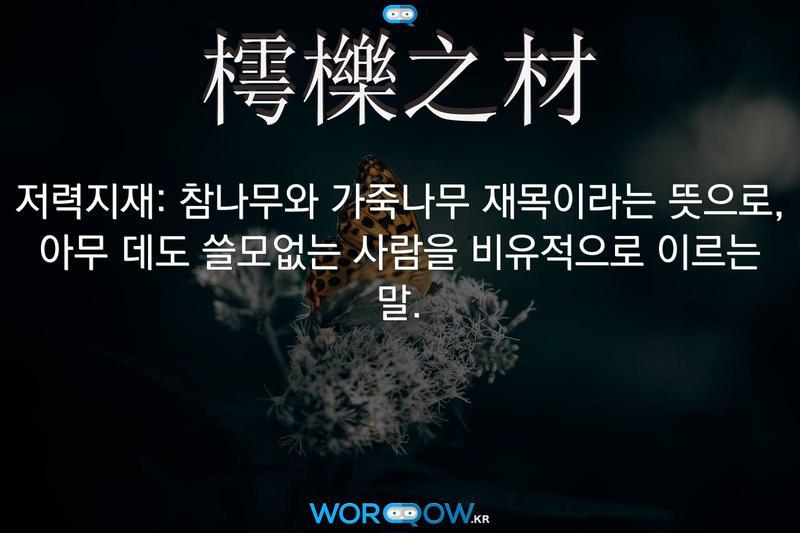 樗櫟之材(저력지재): 참나무와 가죽나무 재목이라는 뜻으로, 아무 데도 쓸모없는 사람을 비유적으로 이르는 말.