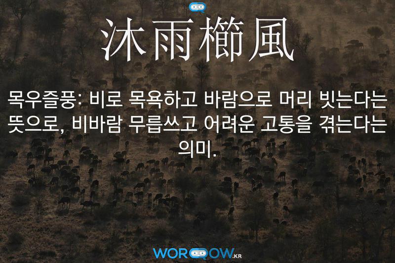 沐雨櫛風(목우즐풍): 비로 목욕하고 바람으로 머리 빗는다는 뜻으로, 비바람 무릅쓰고 어려운 고통을 겪는다는 의미.