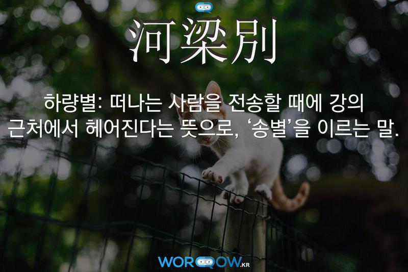 河梁別(하량별): 떠나는 사람을 전송할 때에 강의 근처에서 헤어진다는 뜻으로, '송별'을 이르는 말.