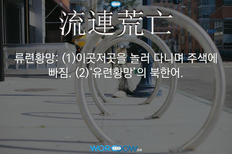 流連荒亡(류련황망): (1)이곳저곳을 놀러 다니며 주색에 빠짐. (2)'유련황망'의 북한어.