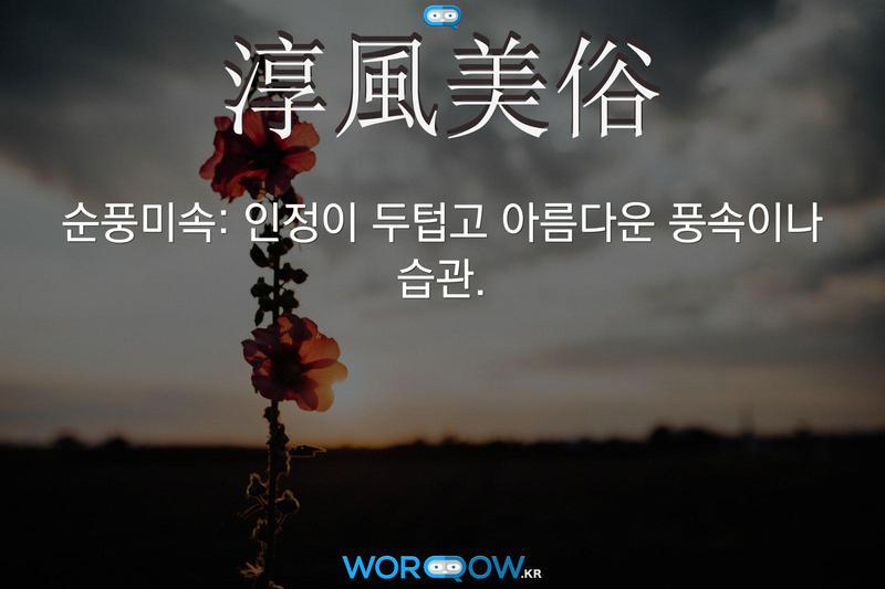 淳風美俗(순풍미속): 인정이 두텁고 아름다운 풍속이나 습관.