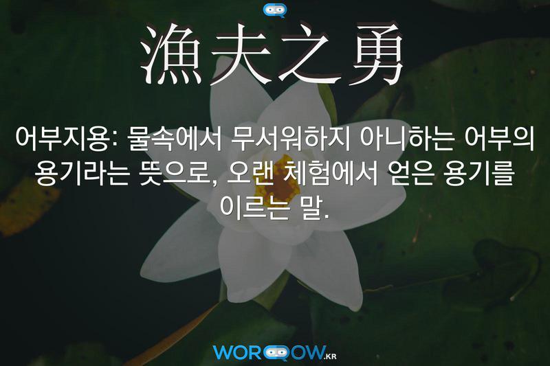 漁夫之勇(어부지용): 물속에서 무서워하지 아니하는 어부의 용기라는 뜻으로, 오랜 체험에서 얻은 용기를 이르는 말.