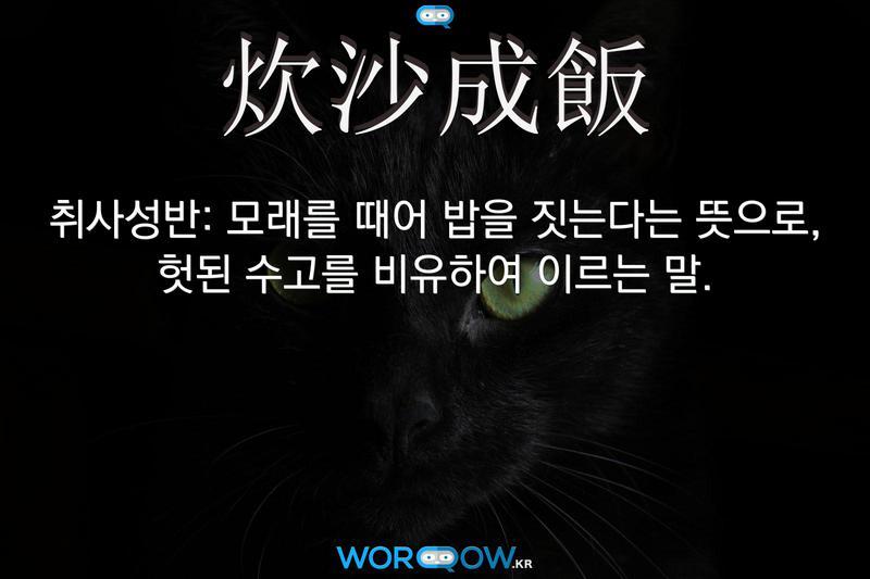 炊沙成飯(취사성반): 모래를 때어 밥을 짓는다는 뜻으로, 헛된 수고를 비유하여 이르는 말.