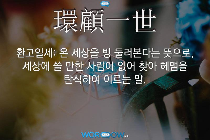 環顧一世(환고일세): 온 세상을 빙 둘러본다는 뜻으로, 세상에 쓸 만한 사람이 없어 찾아 헤맴을 탄식하여 이르는 말.