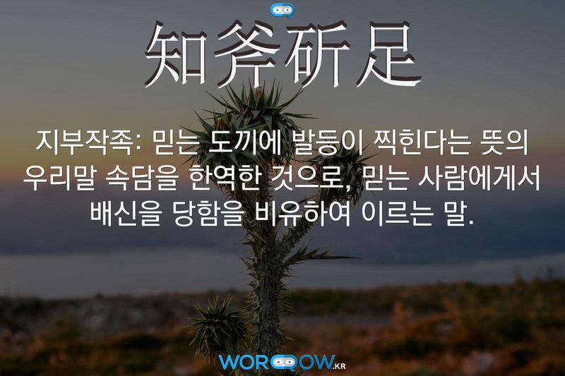 知斧斫足(지부작족): 믿는 도끼에 발등이 찍힌다는 뜻의 우리말 속담을 한역한 것으로, 믿는 사람에게서 배신을 당함을 비유하여 이르는 말.
