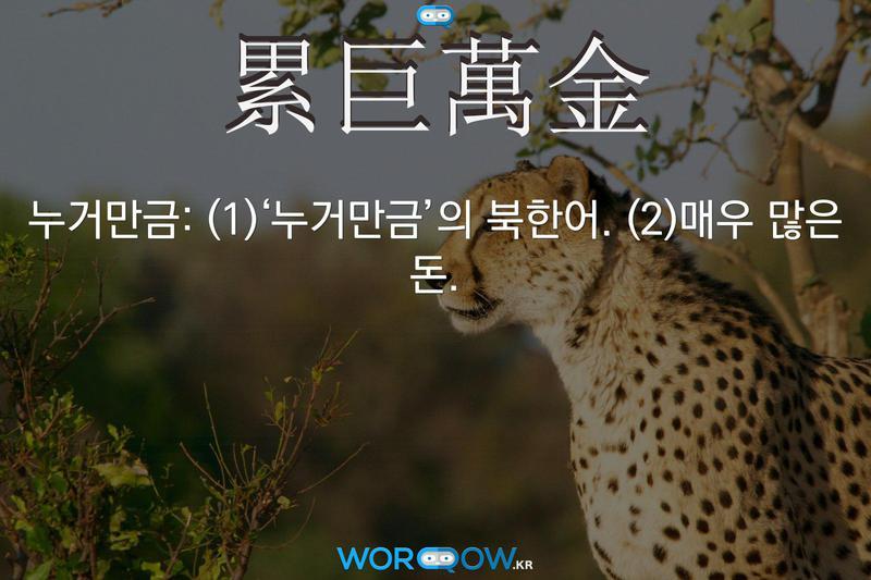 累巨萬金(누거만금): (1)'누거만금'의 북한어. (2)매우 많은 돈.
