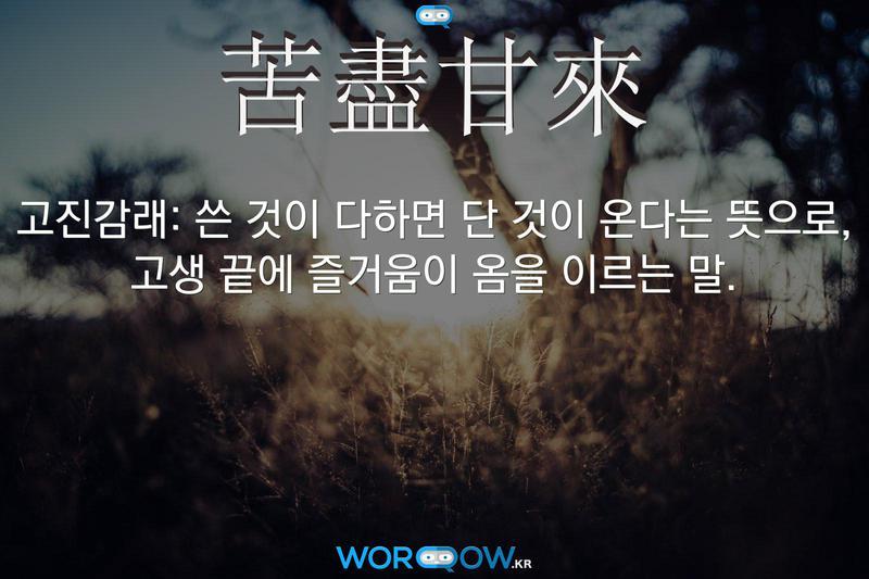 苦盡甘來(고진감래): 쓴 것이 다하면 단 것이 온다는 뜻으로, 고생 끝에 즐거움이 옴을 이르는 말.