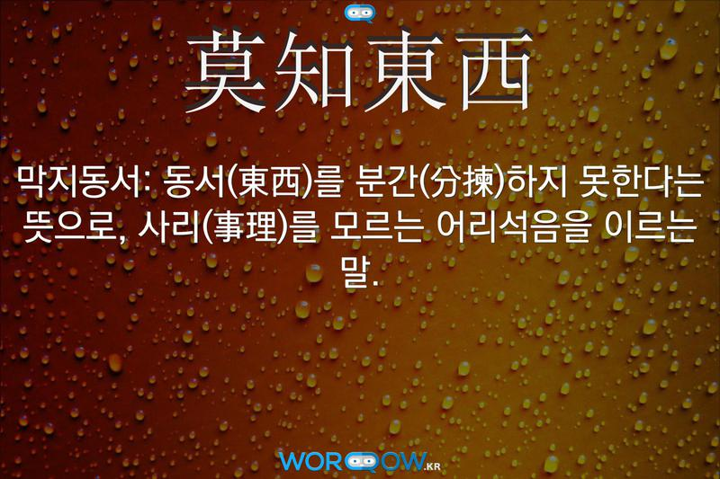 莫知東西(막지동서): 동서(東西)를 분간(分揀)하지 못한다는 뜻으로, 사리(事理)를 모르는 어리석음을 이르는 말.