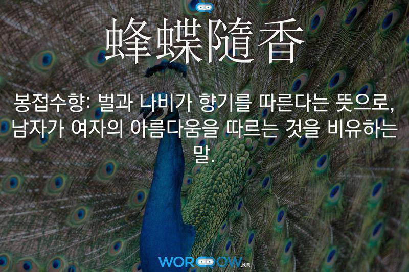 蜂蝶隨香(봉접수향): 벌과 나비가 향기를 따른다는 뜻으로, 남자가 여자의 아름다움을 따르는 것을 비유하는 말.