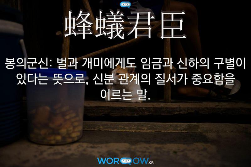 蜂蟻君臣(봉의군신): 벌과 개미에게도 임금과 신하의 구별이 있다는 뜻으로, 신분 관계의 질서가 중요함을 이르는 말.