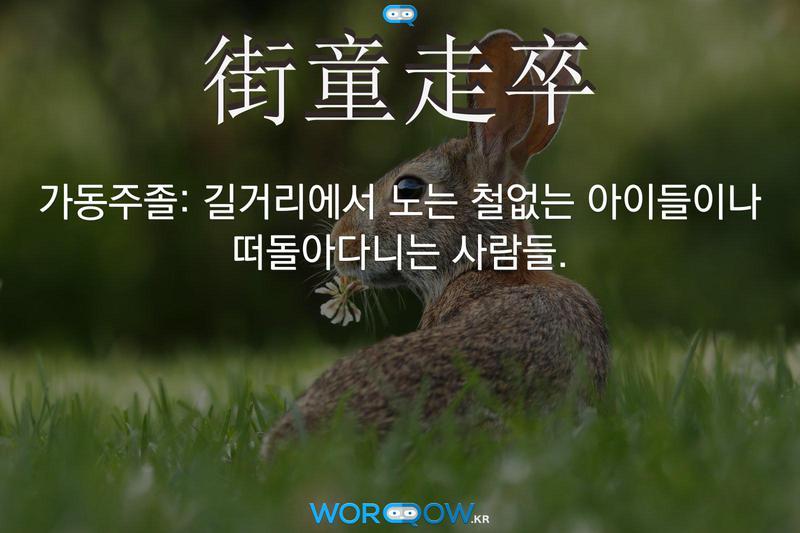 街童走卒(가동주졸): 길거리에서 노는 철없는 아이들이나 떠돌아다니는 사람들.