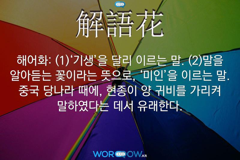 解語花(해어화): (1)'기생'을 달리 이르는 말. (2)말을 알아듣는 꽃이라는 뜻으로, '미인'을 이르는 말. 중국 당나라 때에, 현종이 양 귀비를 가리켜 말하였다는 데서 유래한다.