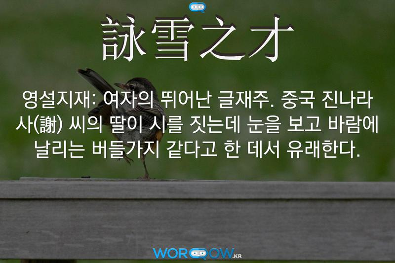 詠雪之才(영설지재): 여자의 뛰어난 글재주. 중국 진나라 사(謝) 씨의 딸이 시를 짓는데 눈을 보고 바람에 날리는 버들가지 같다고 한 데서 유래한다.