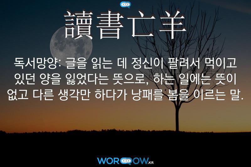 讀書亡羊(독서망양): 글을 읽는 데 정신이 팔려서 먹이고 있던 양을 잃었다는 뜻으로, 하는 일에는 뜻이 없고 다른 생각만 하다가 낭패를 봄을 이르는 말.