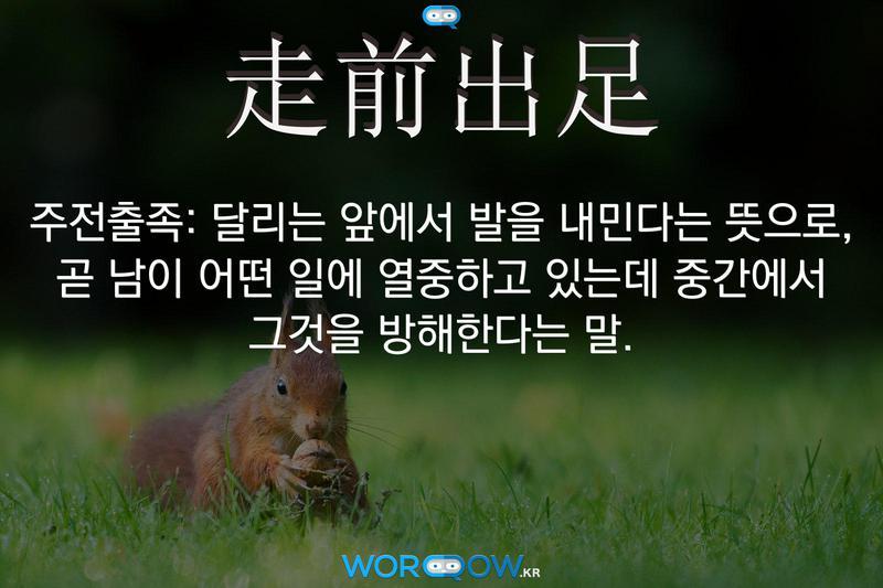走前出足(주전출족): 달리는 앞에서 발을 내민다는 뜻으로, 곧 남이 어떤 일에 열중하고 있는데 중간에서 그것을 방해한다는 말.