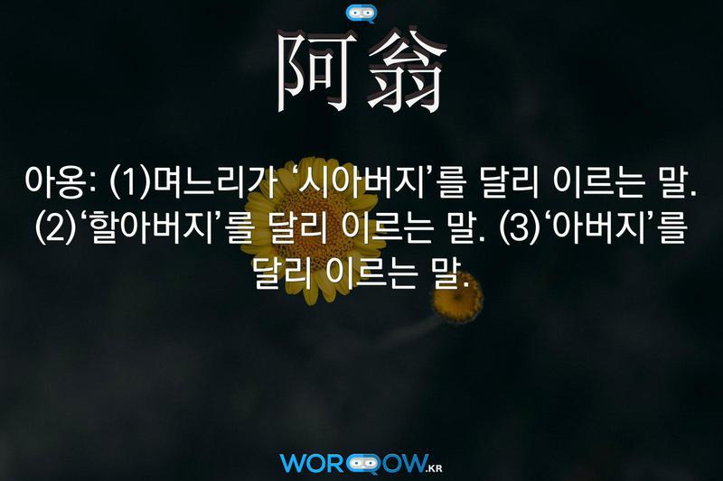 阿翁(아옹): (1)며느리가 '시아버지'를 달리 이르는 말. (2)'할아버지'를 달리 이르는 말. (3)'아버지'를 달리 이르는 말.