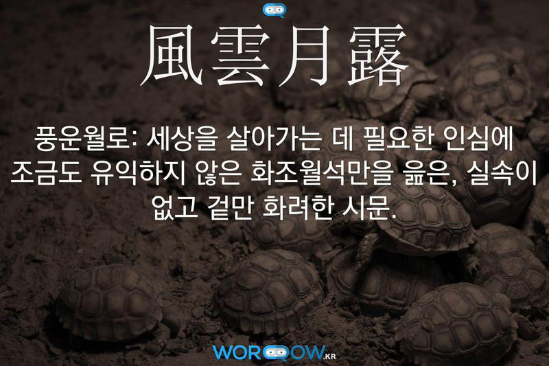 風雲月露(풍운월로): 세상을 살아가는 데 필요한 인심에 조금도 유익하지 않은 화조월석만을 읊은, 실속이 없고 겉만 화려한 시문.