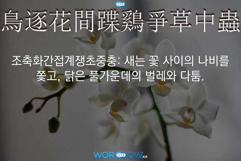 鳥逐花間蹀鷄爭草中蟲(조축화간접계쟁초중충): 새는 꽃 사이의 나비를 쫓고, 닭은 풀가운데의 벌레와 다툼.