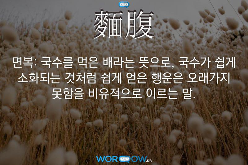 麵腹(면복): 국수를 먹은 배라는 뜻으로, 국수가 쉽게 소화되는 것처럼 쉽게 얻은 행운은 오래가지 못함을 비유적으로 이르는 말.