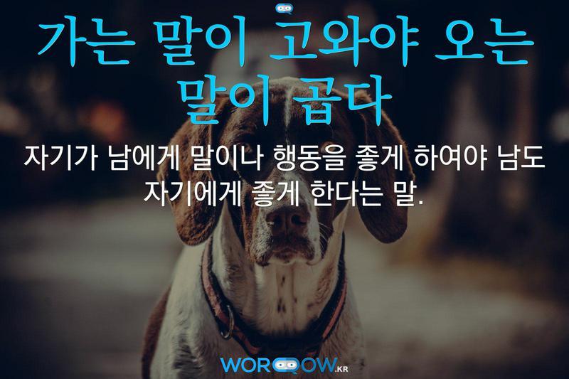 가는 말이 고와야 오는 말이 곱다의 의미: 자기가 남에게 말이나 행동을 좋게 하여야 남도 자기에게 좋게 한다는 말.