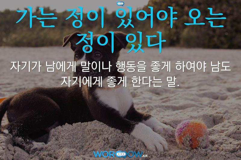 가는 정이 있어야 오는 정이 있다의 의미: 자기가 남에게 말이나 행동을 좋게 하여야 남도 자기에게 좋게 한다는 말.