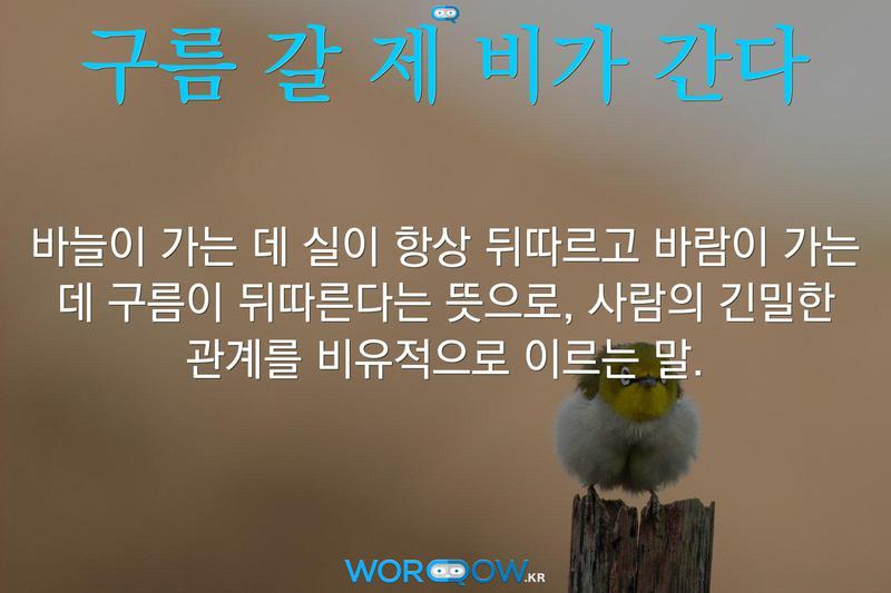 구름 갈 제 비가 간다: 바늘이 가는 데 실이 항상 뒤따르고 바람이 가는 데 구름이 뒤따른다는 뜻으로, 사람의 긴밀한 관계를 비유적으로 이르는 말.