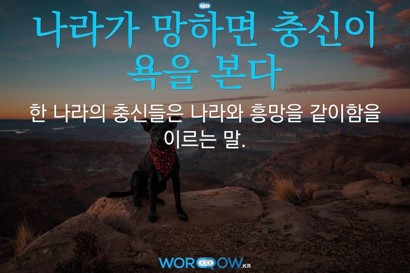 나라가 망하면 충신이 욕을 본다: 한 나라의 충신들은 나라와 흥망을 같이함을 이르는 말.
