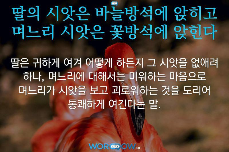 딸의 시앗은 바늘방석에 앉히고 며느리 시앗은 꽃방석에 앉힌다의 의미: 딸은 귀하게 여겨 어떻게 하든지 그 시앗을 없애려 하나, 며느리에 대해서는 미워하는 마음으로 며느리가 시앗을 보고 괴로워하는 것을 도리어 통쾌하게 여긴다는 말.