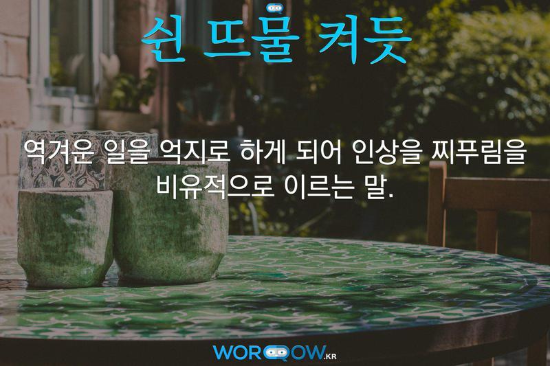 쉰 뜨물 켜듯의 의미: 역겨운 일을 억지로 하게 되어 인상을 찌푸림을 비유적으로 이르는 말.