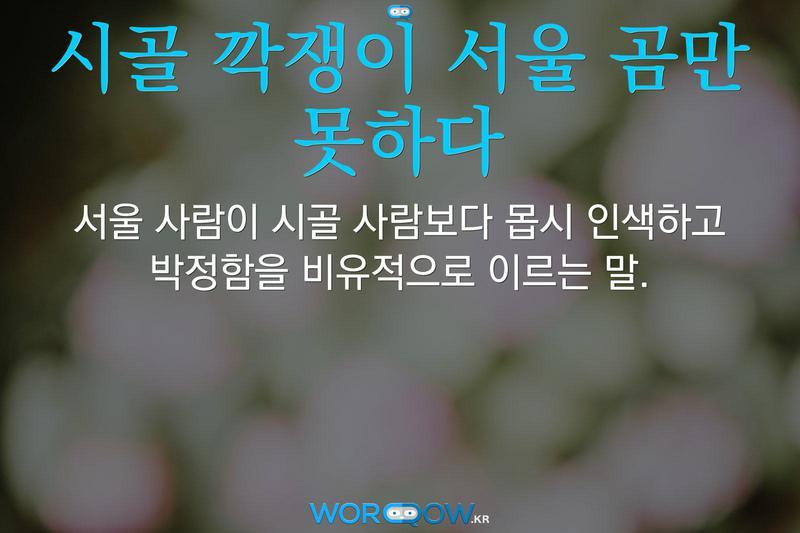 시골 깍쟁이 서울 곰만 못하다: 서울 사람이 시골 사람보다 몹시 인색하고 박정함을 비유적으로 이르는 말.