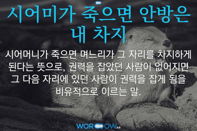 시어미가 죽으면 안방은 내 차지: 시어머니가 죽으면 며느리가 그 자리를 차지하게 된다는 뜻으로, 권력을 잡았던 사람이 없어지면 그 다음 자리에 있던 사람이 권력을 잡게 됨을 비유적으로 이르는 말.