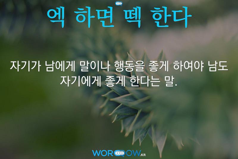 엑 하면 떽 한다의 의미: 자기가 남에게 말이나 행동을 좋게 하여야 남도 자기에게 좋게 한다는 말.