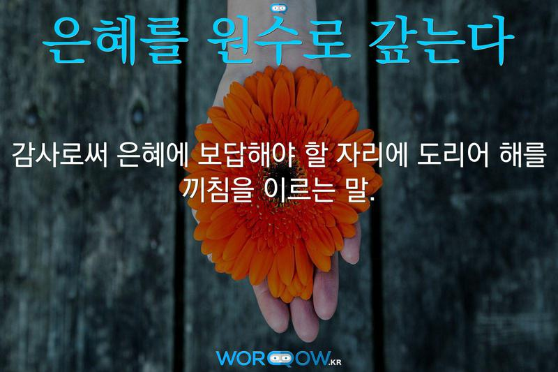 은혜를 원수로 갚는다: 감사로써 은혜에 보답해야 할 자리에 도리어 해를 끼침을 이르는 말.