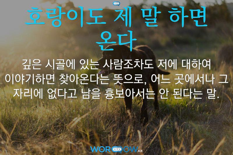 호랑이도 제 말 하면 온다의 의미: 깊은 시골에 있는 사람조차도 저에 대하여 이야기하면 찾아온다는 뜻으로, 어느 곳에서나 그 자리에 없다고 남을 흉보아서는 안 된다는 말.