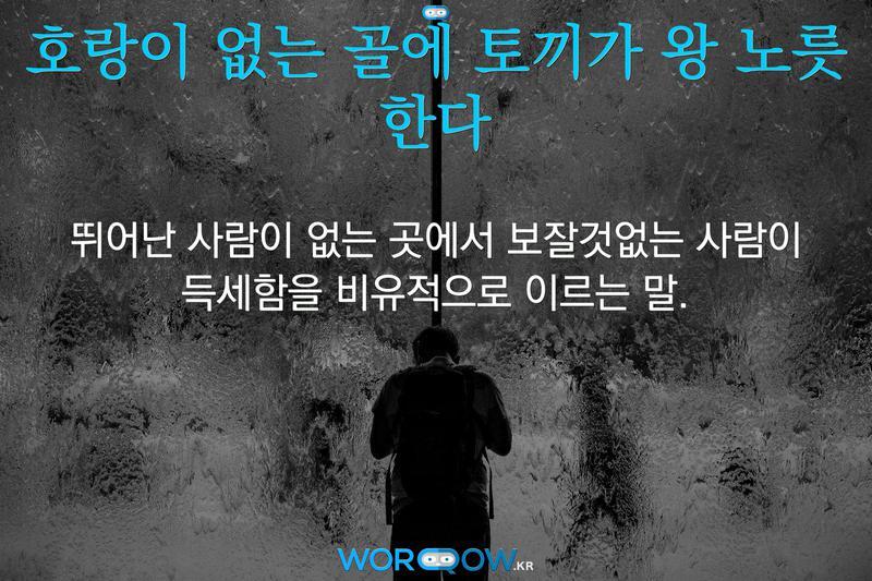 호랑이 없는 골에 토끼가 왕 노릇 한다: 뛰어난 사람이 없는 곳에서 보잘것없는 사람이 득세함을 비유적으로 이르는 말.
