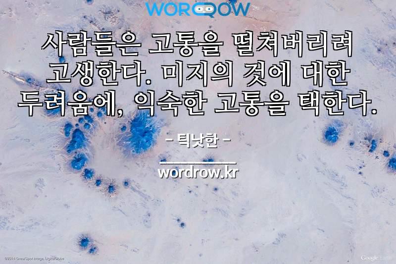 틱낫한의 명언: 사람들은 고통을 떨쳐버리려 고생한다. 미지의 것에 대한 두려움에, 익숙한 고통을 택한다.