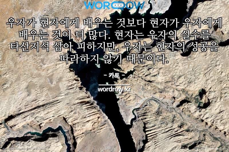 카토 명언: 우자가 현자에게 배우는 것보다 현자가 우자에게 배우는 것이 더 많다. 현자는 우자의 실수를 타산지석 삼아 피하지만, 우자는 현자의 성공을 따라하지 않기 때문이다.