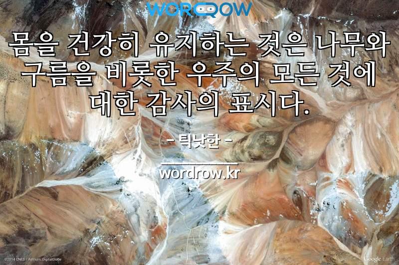 틱낫한의 명언: 몸을 건강히 유지하는 것은 나무와 구름을 비롯한 우주의 모든 것에 대한 감사의 표시다.