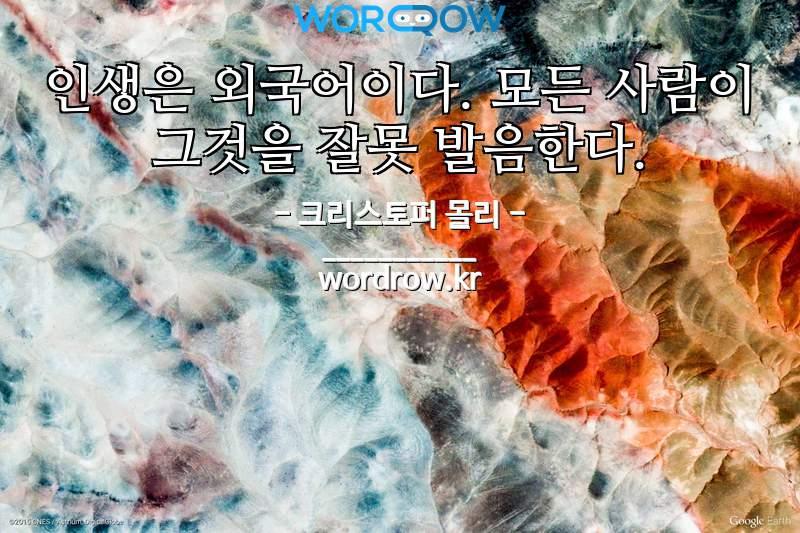크리스토퍼 몰리 명언: 인생은 외국어이다. 모든 사람이 그것을 잘못 발음한다.