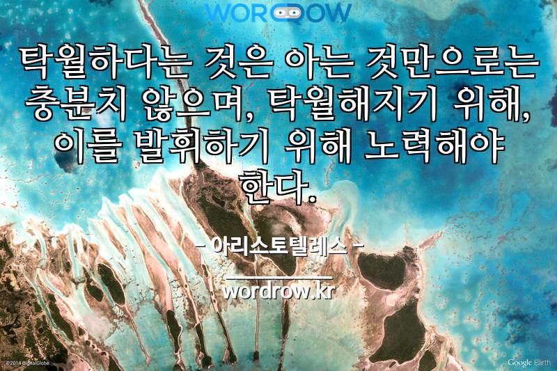 아리스토텔레스 명언: 탁월하다는 것은 아는 것만으로는 충분치 않으며, 탁월해지기 위해, 이를 발휘하기 위해 노력해야 한다.